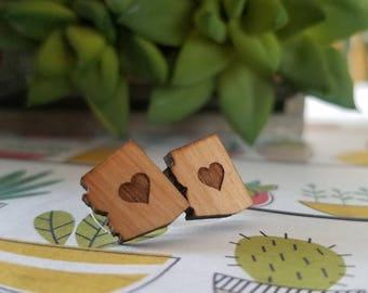 Arizona Love Earrings - Wooden Stud Earring - Wooden Earring - Arizona Heart Earring - Hypoallergenic Surgical Stainless