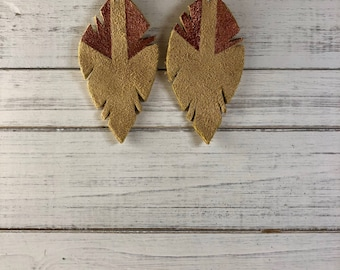 Irregular Feather of Suede - Tan Suede - Hand painted in Copper