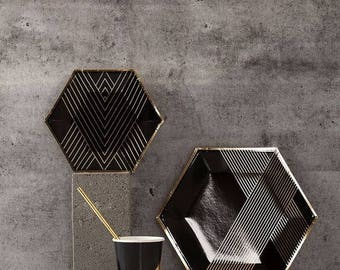 40 pcs Black and Gold Paper Plates set, Elegant paper plates kit, black and golf foil party decorations
