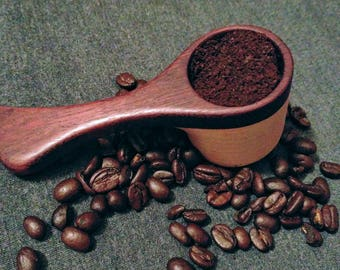 Coffee Scoop, 2Tbsp for 12oz cup of coffee. Purple Heart top with Ash cup