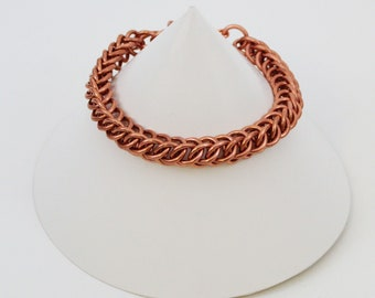 Solid Copper Half Persian Chainmaille Bracelet