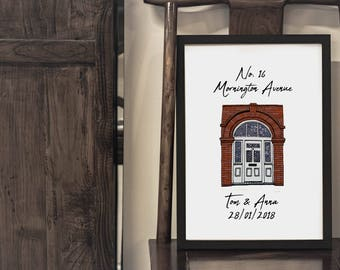 Custom Door Portrait with Personalised Message - Housewarming Gift - Moving In - New Home