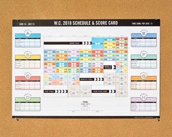 2018 World Cup Poster Chart - Soccer Tournament Calendar & Score Card - Original Design - Locally Printed - Pacific Daylight Time!