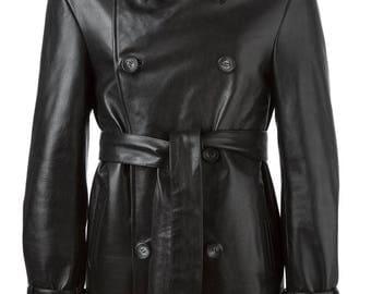 Genuine Cow Leather Black Mid Length Coat