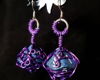 Dice Earrings - D10 - Wire Wrapped