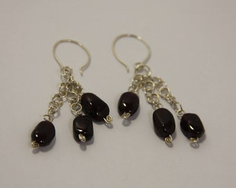 Garnet - Silver earrings