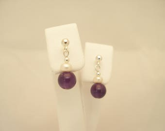 Semi-Precious Amethyst & Freshwater Pearl Sterling Silver Earrings