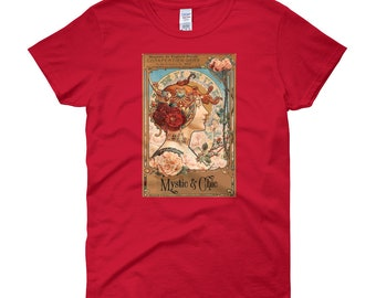 Mystic and Chic Spring Red Hair Woman Vintage Art short sleeve t-shirt