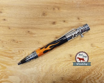 Gearshift Pen, Car Enthusiast, Gifts for Him, Flame Inlay, Custom Gifts for Men