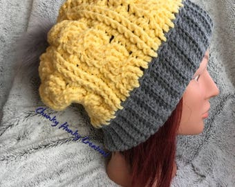 Crochet slouchy cabled beanie, crochet hat, crochet toque