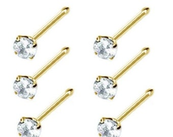 New 6 pcs 14k Gold Plated Prong Nose Stud Bone Ring 1.5mm Gem Ball Ended 22G Clear