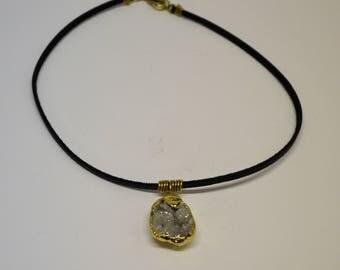Titanium Agate Druzy Quartz Brass Wire Black Faux Suede Choker Necklace