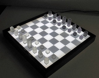 3DCUBEGAMES Bright BG-1, chess lighted, light box, checkerboard lit, chess game, chess pieces lit