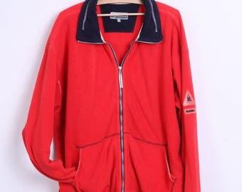 Gaastra Mens 2XL Fleece Top Red Jacket Kangaroo Pocket Sport