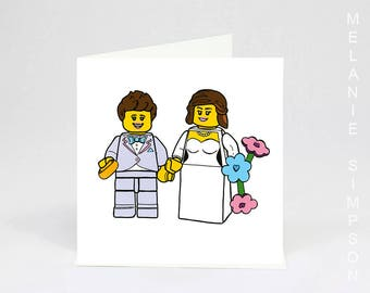Lego lesbian wedding archival greeting card