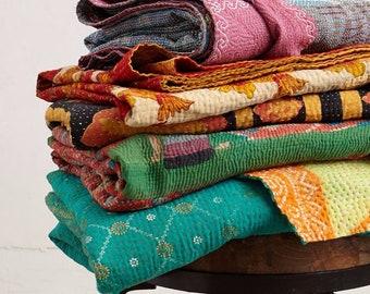 5 Pc Lot Of Indian Kantha Quilt Reversible Kantha Blanket Cotton Sari Kantha Bedspread Twin Size Kantha Throw Bohemian Kantha Bed Cover