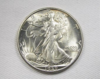 1939 D Walking Liberty Half Dollar Uncirculated Plus Coin