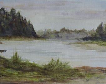 A Willapa View - Original watercolor 12W x 6H - waterscape
