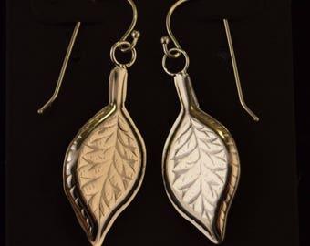 Sterling Silver Earrings Embossed Leaf Motif