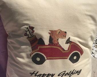 Airedale Pillow, Golfing Pillow