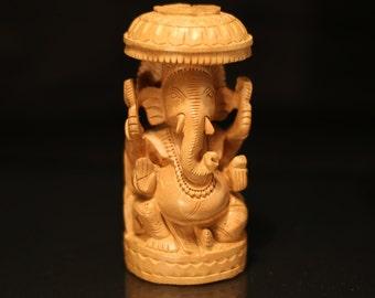 Wooden Ganesha with Umbrella (Wooden Elephant God with Umbrella)