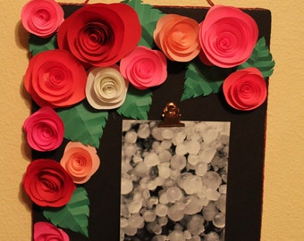 Paper flower photo frame/clip board, origami flowers