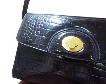 Fiber Street VINTAGE! classic beautiful r Crocodile Embossed and metal design bag