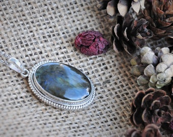 Vintage Sterling Silver Moss Agate Pendant