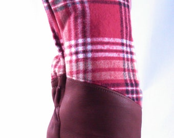 Golf Headcover Red Flannel Plaid and Leather