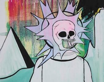 Original painting, Abstract Pop Art, Little Green Man, Macabre