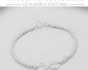 Bracelet in solid 925 sterling silver balls and silver infinity symbol