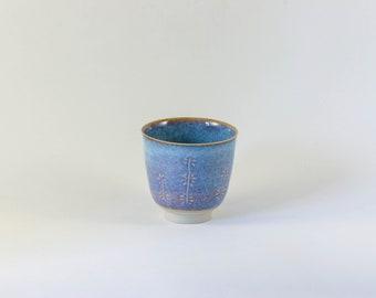 Blue, handcrafted ceramic coffee mug