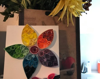 Paper Quilling Art- Paper Quilled Flower Canvas - Paper Quilling Wall Art- Paper Quilling - Paper Quilling Canvas Art