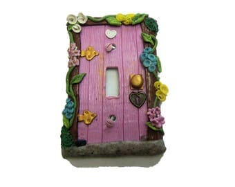 Pink Fairy Door Switch Plate Cover - Flower Light Switch Cover - Polymer Clay Switchplate Cover - Girls Room