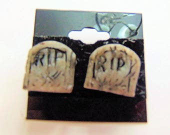 Tombstone Halloween Earrings - Polymer Clay Halloween headstone Jewelry - Scary Spooky Accessories -Polymer Clay Earring