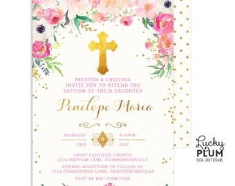 Baptism Invitation / Floral Baptism Invitation / Christening Invitation / Baptism Woodland Invitation / First Communion Invitation