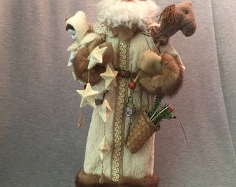Handmade Santa -Old World Father Christmas- OOAK Sculpted Santa Claus by Nonna's Santa-Santa Claus
