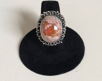 Silver mexican fire opal ring size 8