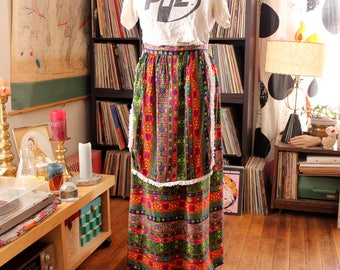 vintage 60s 70s hostess skirt with apron, womens flower power maxi skirt, womens volup plus size xl 1x 2x