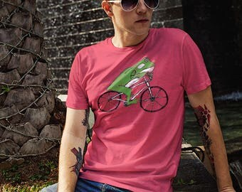 Tree Frog Riding BMX Bike Bicycle Racing T-Shirt Cycling Shirt Free Style Toad Funny Gift Vintage Distressed Shirts Spin Class Tshirt Unisex