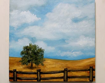 California Landscape, Gold Hills, Tree, Blue Sky, Original Painting, Landscape Painting, Winjimir, Home Decor, Office, Wall Art, Square, Art