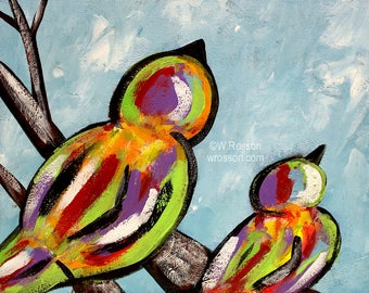 Colorful Birds, Bird Painting, Pair of Birds, Bird Art, Original painting, Winjimir, Home Decor, Wall Art, Office Art, Design, Birds, Art