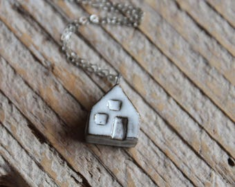 Ceramic Tiny House Necklace with White Glaze on Sterling Silver Chain