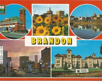 Vintage 1980s Postcard Brandon Manitoba MB Canada Fire Department University City Skyline Sunflowers Card Photochrome Postally Unused