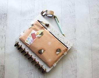 Hedgehog planner cover - cute planner accessories pouch - daily planner - washi  tape holder - planner sticker organizer - hedgehog bag