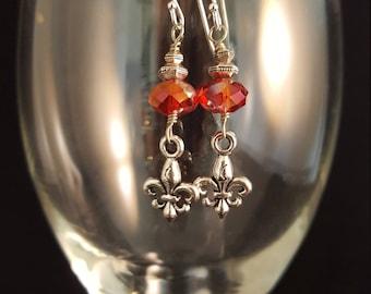 Red Czech Glass and Fleur de Lis earrings