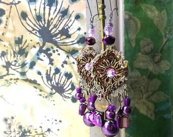 Purple Drops Earrings, Beaded, Shell, Antique Embroidery, Gypsy Earrings, Bohemian Gypsy, Boho Earrings, Gorgeous