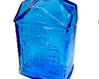 Vintage Glass Coin Bank - 1st National Bank, 1950s Mid Century Retro Piggy Bank, Collectible Blue Glass Bank by Wheaton