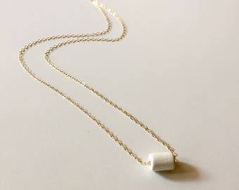 Geometric Ceramic Necklace on 14K Gold-fill Chain