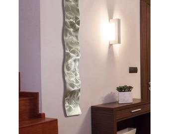 Natural Silver Handetched Abstract Art - Unique Modern Metal Wall Sculpture - 3D Hanging Decor Wave Accent - Silver Wave by Jon Allen